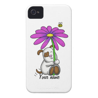 Cute Doggy With Flower Umbrella iPhone 4 Cover