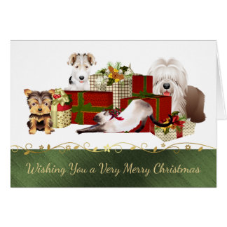 Cute Dogs and Cats Christmas Card
