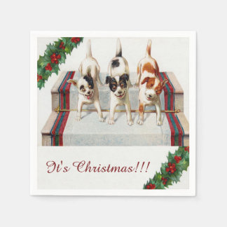 "Cute Dog's ""It's Christmas"" Paper Napkin"