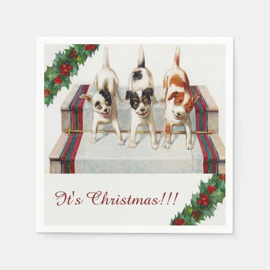 """Cute Dog's """"It's Christmas"""" Paper Napkins"""