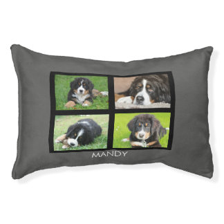 Cute Dogs own photo collage name Pet Bed