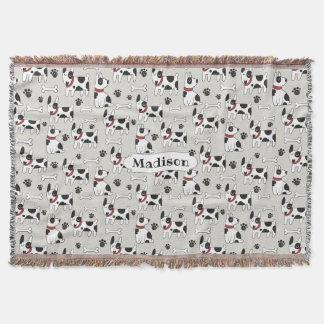 Cute Dogs Pattern custom name throw blanket