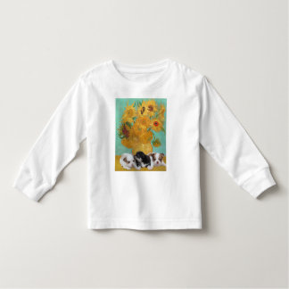 Cute Dogs with Van Gogh's Sunflowers Toddler T-Shirt