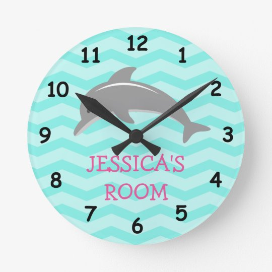 Cute dolphin and chevron kids nursery wall clock