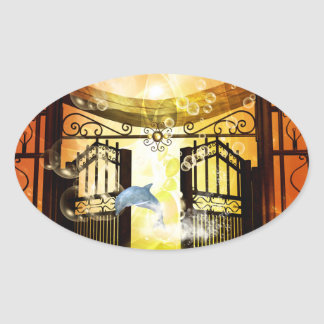 Cute dolphin jumping by a gate oval sticker