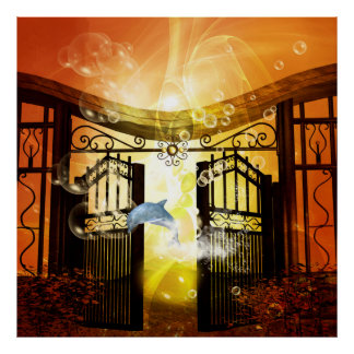 Cute dolphin jumping by a gate poster