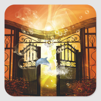 Cute dolphin jumping by a gate square sticker