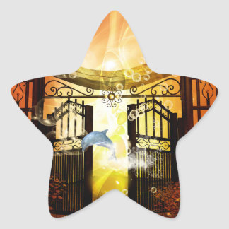 Cute dolphin jumping by a gate star sticker