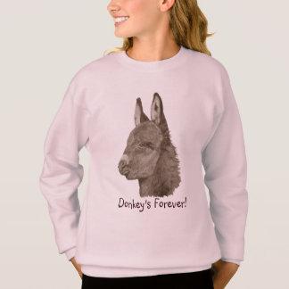 Cute donkey drawing orginal realist animal art sweatshirt