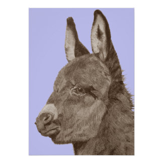 Cute donkey drawing sepia realist art poster