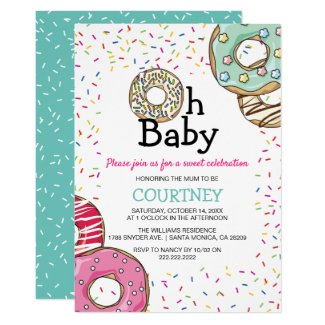Cute Donut & Sprinkles Oh Baby | Baby Shower Invitation