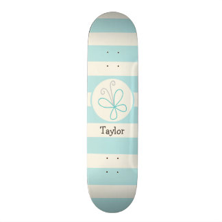 Cute Doodle Butterfly; Baby Blue Stripes Skate Deck