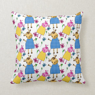 Cute doodle cow with flowers cushion