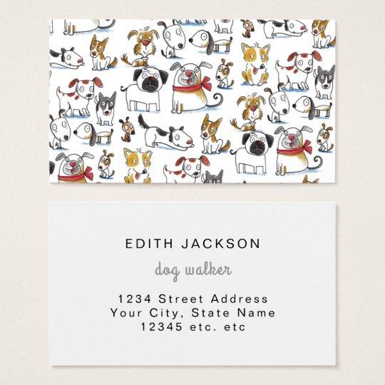cute doodle dog walker business card
