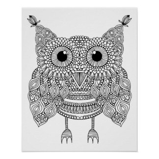 Cute Doodle Owl 2 Poster