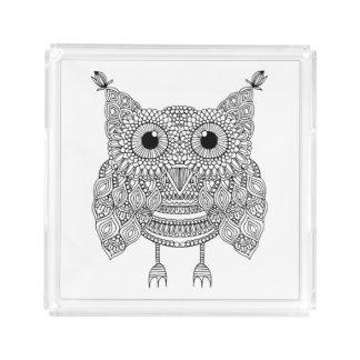 Cute Doodle Owl Acrylic Tray
