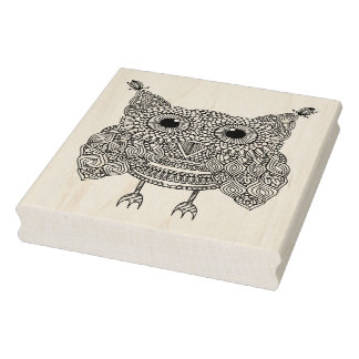 Cute Doodle Owl Rubber Stamp