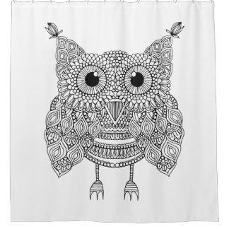 Cute Doodle Owl Shower Curtain