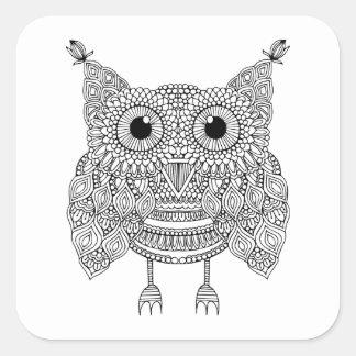 Cute Doodle Owl Square Sticker