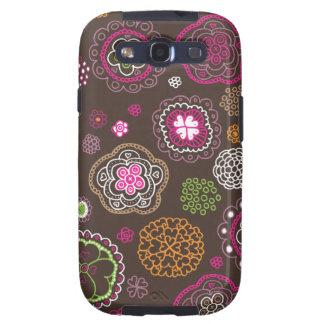 Cute doodle retro flowers heart pattern design galaxy s3 case