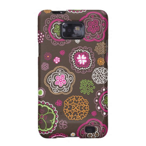 Cute doodle retro flowers heart pattern design samsung galaxy s covers