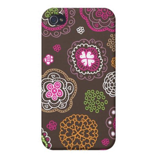 Cute doodle retro flowers heart pattern design iPhone 4 case