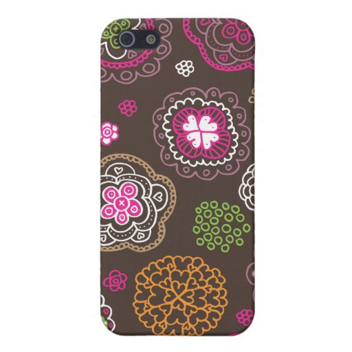 Cute doodle retro flowers heart pattern design case for iPhone 5