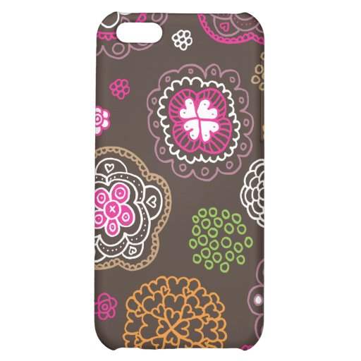 Cute doodle retro flowers heart pattern design cover for iPhone 5C