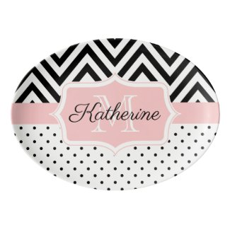 Cute Dots and Chevron Porcelain Serving Platter