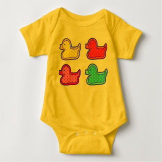 Cute Dotty Colorful Ducks Baby Bodysuit