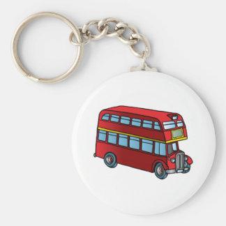 Cute Double Decker Bus Basic Round Button Key Ring