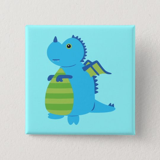 Cute Dragon 15 Cm Square Badge