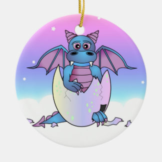 Cute Dragon Baby in Cracked Egg - Blue / Purple Christmas Ornament