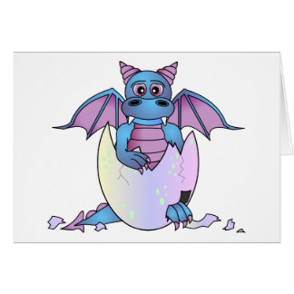Cute Dragon Baby in Cracked Egg - Blue / Purple Greeting Card