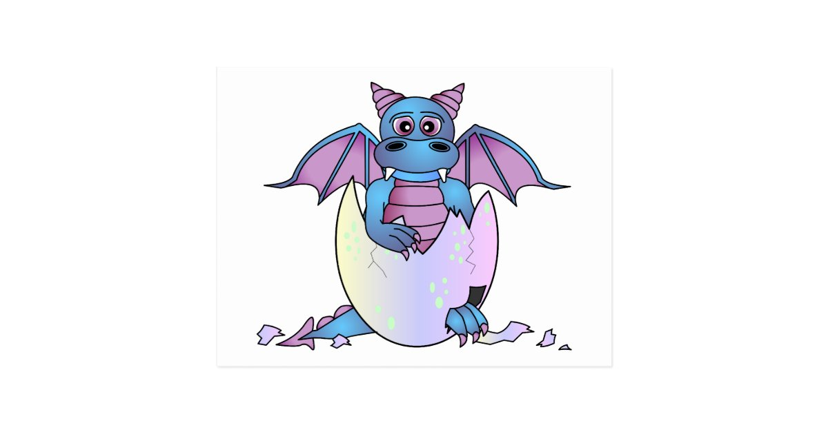 Cute Dragon Baby In Cracked Egg Blue Purple Postcard