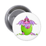 Cute Dragon Baby in Cracked Egg - Pink / Purple 6 Cm Round Badge