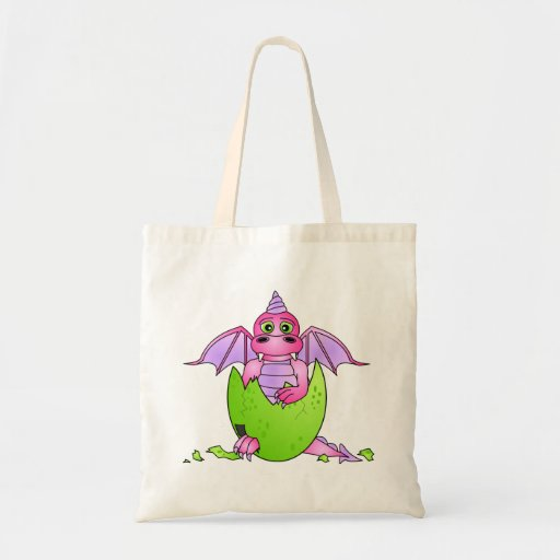 Cute Dragon Baby in Cracked Egg - Pink / Purple Budget Tote Bag