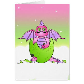Cute Dragon Baby in Cracked Egg - Pink / Purple Greeting Card