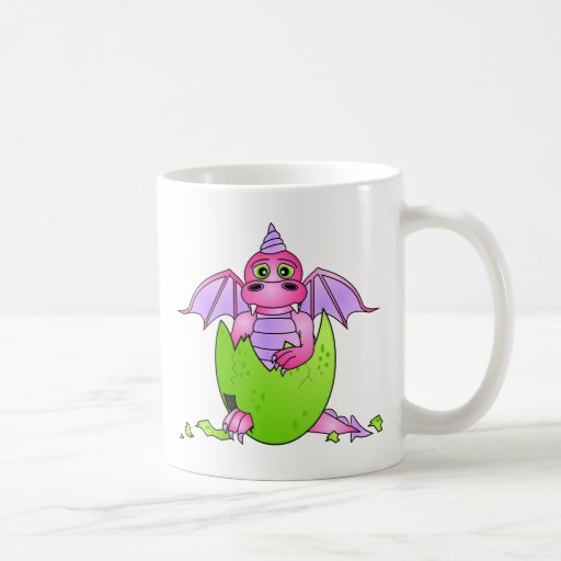 Cute Dragon Baby in Cracked Egg - Pink / Purple Coffee Mugs