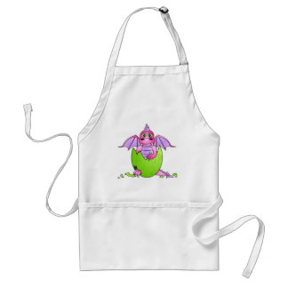 Cute Dragon Baby in Cracked Egg - Pink / Purple Standard Apron