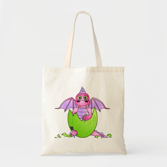 Cute Dragon Baby in Cracked Egg - Pink / Purple Tote Bag