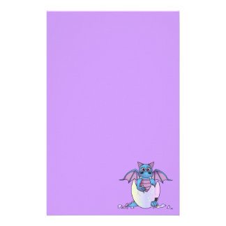 Cute Dragon Baby in Cracked Egg Purple Stationery
