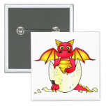 Cute Dragon Baby in Cracked Egg - Red / Yellow 15 Cm Square Badge