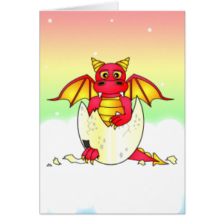 Cute Dragon Baby in Cracked Egg - Red / Yellow Greeting Card
