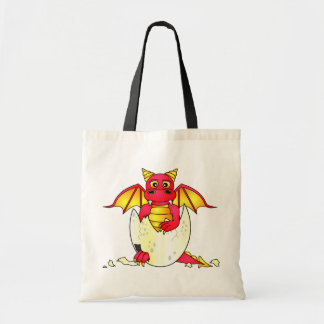 Cute Dragon Baby in Cracked Egg - Red / Yellow Tote Bag