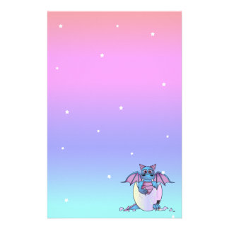 Cute Dragon Baby in Cracked Egg Stationery