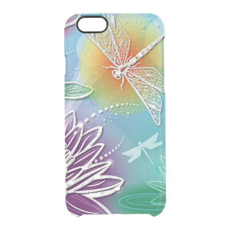Cute Dragon Fly Pretty Summer Colors Modern Floral Clear iPhone 6/6S Case