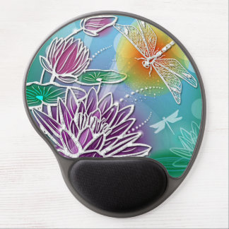 Cute Dragon Fly Pretty Summer Colors Modern Floral Gel Mouse Pad