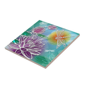 Cute Dragon Fly Pretty Summer Colors Modern Floral Small Square Tile