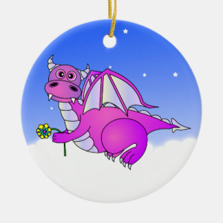 Cute Dragon Flying in the Clouds - Blue / Purple Christmas Ornament